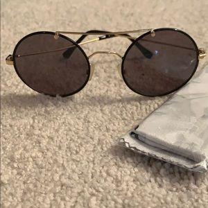 Alice& Olivia Black bug eye gold rim Sunglasses